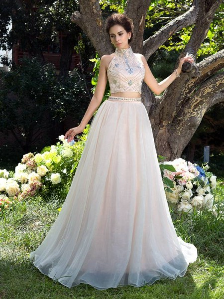 Corte en A/Princesa Escote Alto Abalorios Sin Mangas Largo Malla Dos Piezas Vestidos