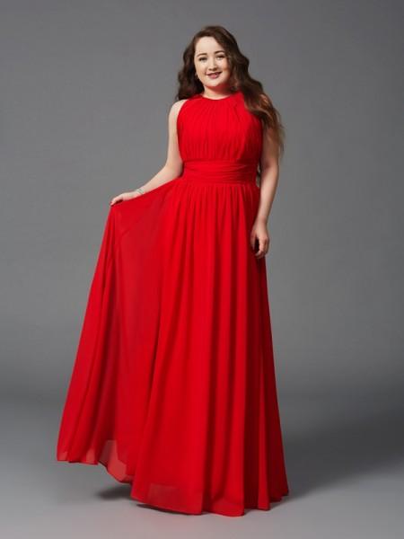 Corte en A/Princesa Escote Joya Fruncido Sin Mangas Largo Gasa Grande Vestidos