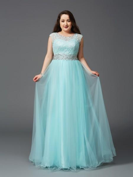 Corte en A/Princesa Escote en U Estrás Sin Mangas Largo Satén Elástico Grande Vestidos