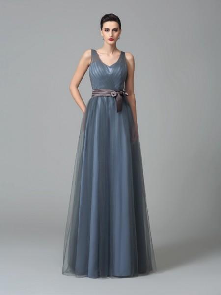 Corte en A/Princesa Tirantes Fajas/Lazos/Cinturones Sin Mangas Largo Malla Vestidos de dama de honor