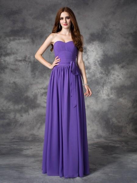 Corte en A/Princesa Escote de Corazón Volantes Sin Mangas Largo Gasa Vestidos de dama de honor