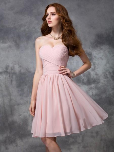 Corte en A/Princesa Escote de Corazón Sin Mangas Fruncido Corto Gasa Vestidos de dama de honor