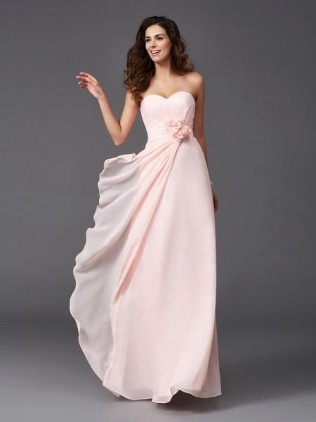 Corte en A/Princesa Escote de Corazón Flores hechas a mano Sin Mangas Largo Gasa Vestidos de dama de honor
