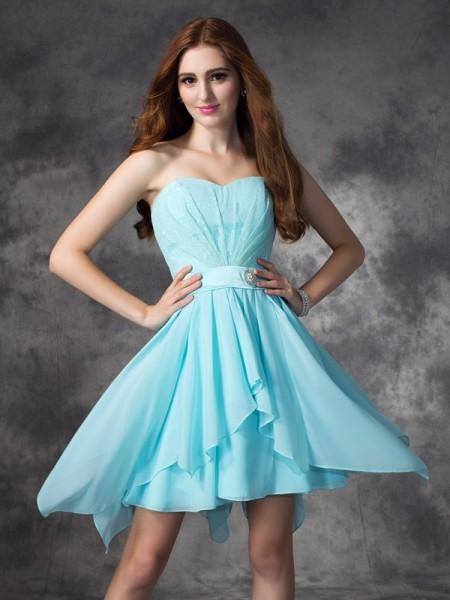 Corte en A/Princesa Escote de Corazón Volantes Sin Mangas Corto Gasa Vestidos de dama de honor