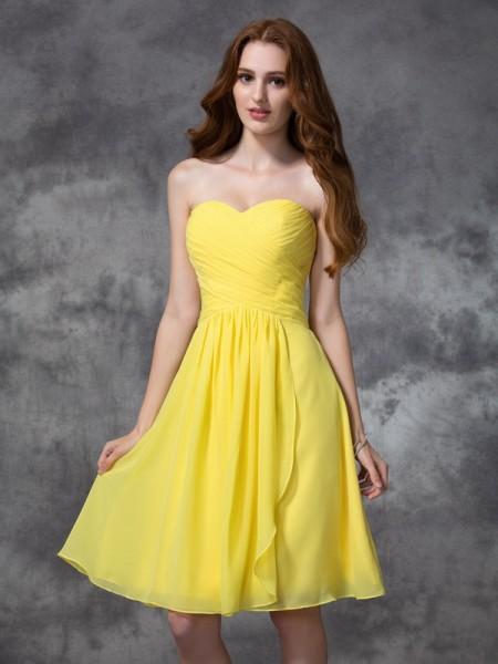 Corte en A/Princesa Escote de Corazón Fruncido Sin Mangas Corto Gasa Vestidos de dama de honor