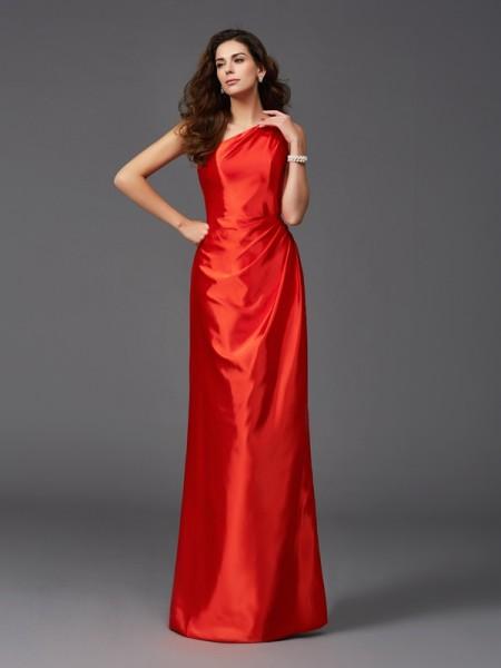 Ajustado/Tipo Columna Un solo Hombro Sin Mangas Largo Satén Elástico Vestidos de dama de honor