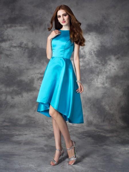 Corte en A/Princesa Escote Barco Volantes Sin Mangas Asimétrico Satén Vestidos de dama de honor