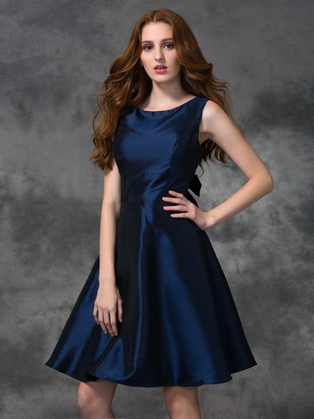 Corte en A/Princesa Escote en U Sin Mangas Corto Tafetán Vestidos de dama de honor