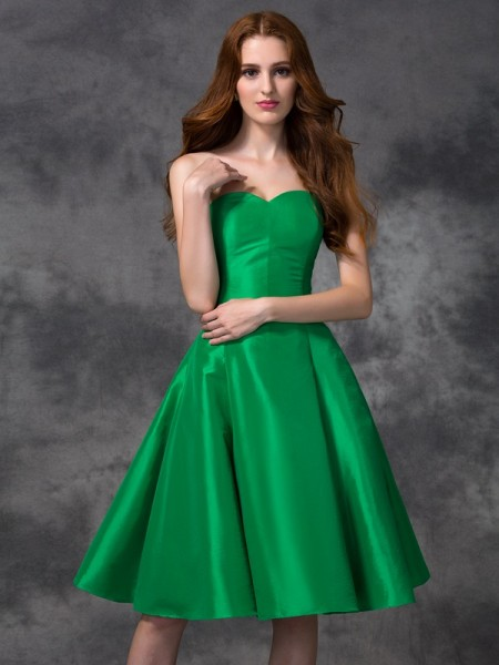 Corte en A/Princesa Escote de Corazón Sin Mangas Corto Tafetán Vestidos de dama de honor