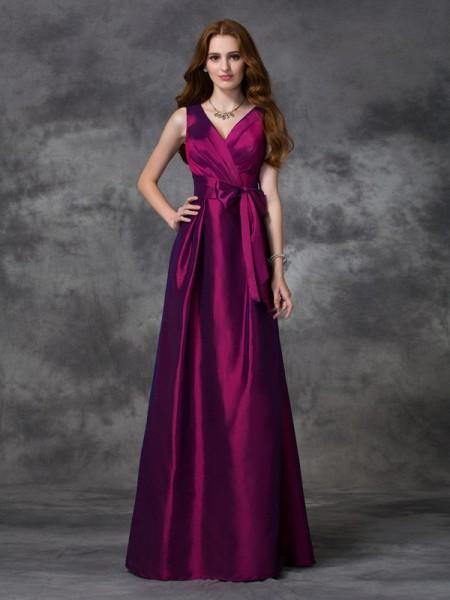 Corte en A/Princesa Escote en V Fajas/Lazos/Cinturones Sin Mangas Largo Tafetán Vestidos de dama de honor