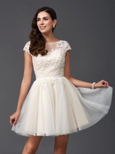 Corte en A/Princesa Escote en U Apliques Manga Corta Corto Malla Vestidos