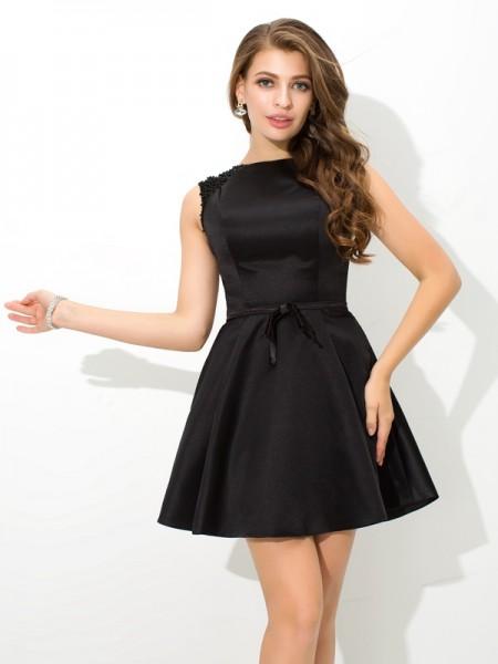 Corte en A/Princesa Escote Alto Fajas/Lazos/Cinturones Sin Mangas Corto Satén Vestidos de cóctel