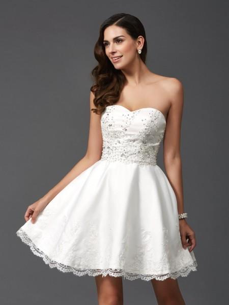 Corte en A/Princesa Escote de Corazón Abalorios Sin Mangas Corto Satén Vestidos