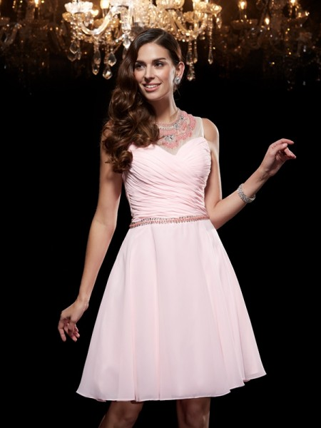 Corte en A/Princesa Escote en U Abalorios Sin Mangas Corto Gasa Vestidos