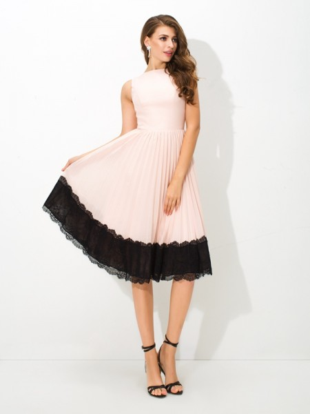 Corte en A/Princesa Escote Alto Encaje Sin Mangas Corto Gasa Vestidos de cóctel