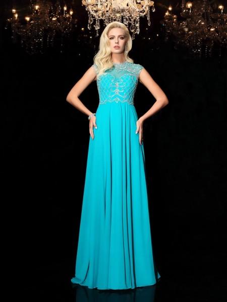 Corte en A/Princesa Escote Joya Encaje Manga Corta Largo Gasa Vestidos