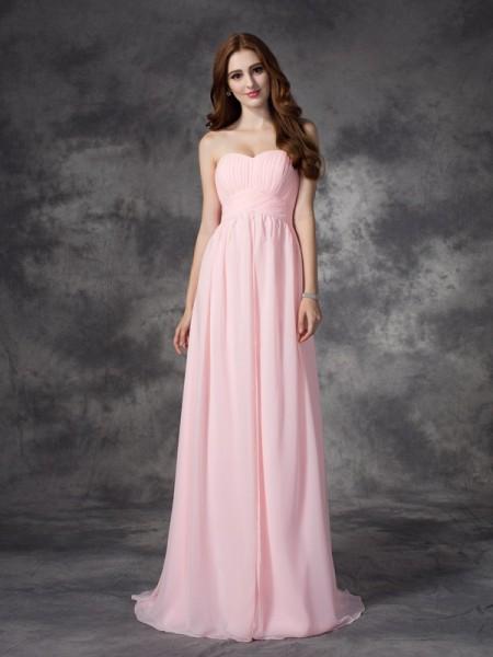 Corte en A/Princesa Escote de Corazón Fruncido Sin Mangas Largo Gasa Vestidos