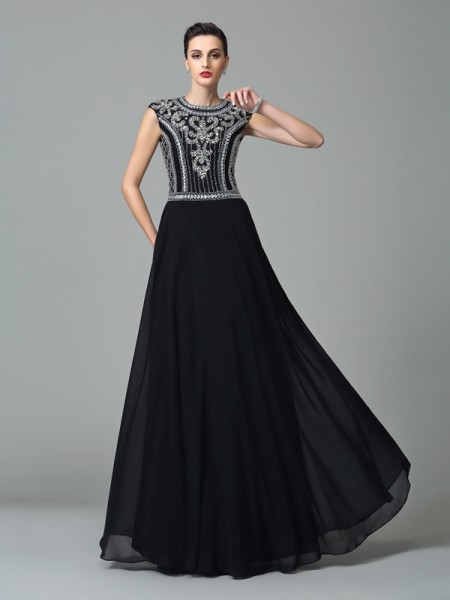 Corte en A/Princesa Escote Joya Abalorios Manga Corta Largo Gasa Vestidos
