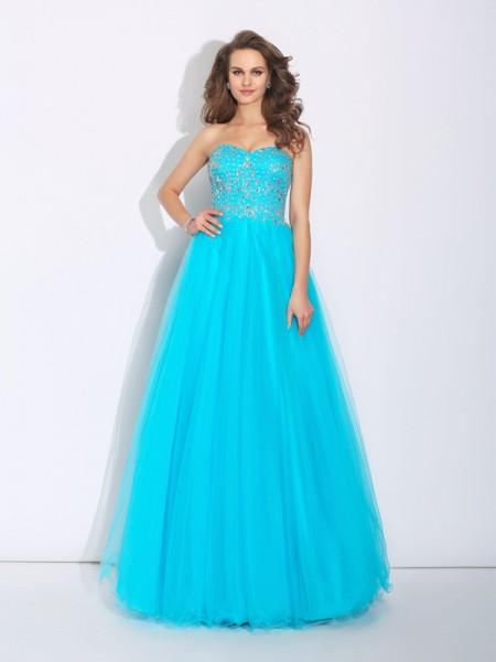 Corte en A/Princesa Escote de Corazón Estrás Sin Mangas Largo Satén Vestidos