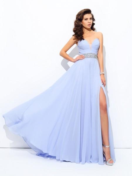 e7dde4838 Corte en A Princesa Escote de Corazón Abalorios Sin Mangas Largo Gasa  Vestidos