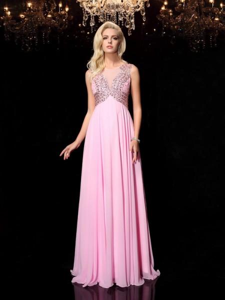 Corte en A/Princesa Escote en U Abalorios Sin Mangas Largo Gasa Vestidos