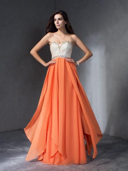 Corte en A/Princesa Abalorios Escote de Corazón Sin Mangas Largo Gasa Vestidos