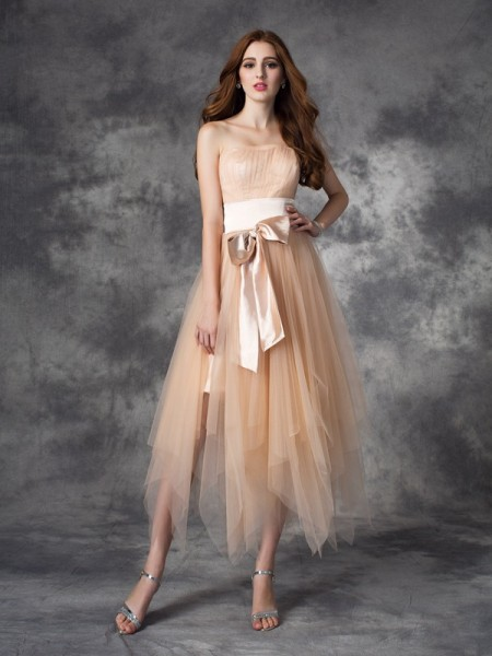 Corte en A/Princesa Sin Tirantes Lazos Sin Mangas Largo Satén Elástico Vestidos