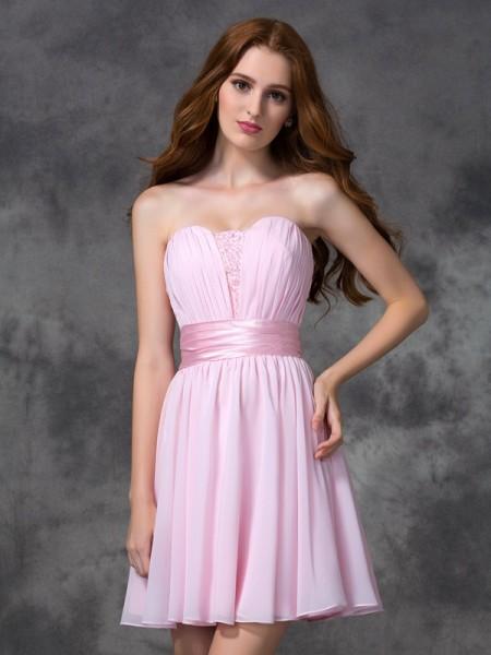 Corte en A/Princesa Escote de Corazón Fruncido Sin Mangas Corto Gasa Vestidos