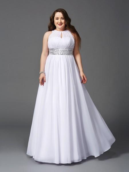 Corte en A/Princesa Escote Joya Abalorios Sin Mangas Largo Gasa Grande Vestidos