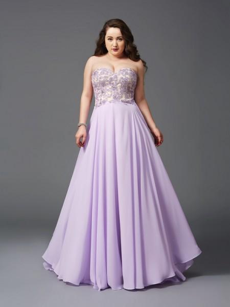 Corte en A/Princesa Escote de Corazón Encaje Sin Mangas Largo Gasa Grande Vestidos