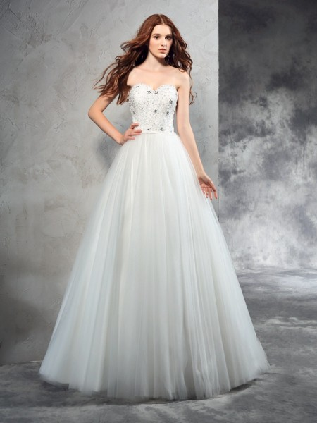 Corte en A/Princesa Escote de Corazón Abalorios Sin Mangas Largo Malla Vestidos de Novia