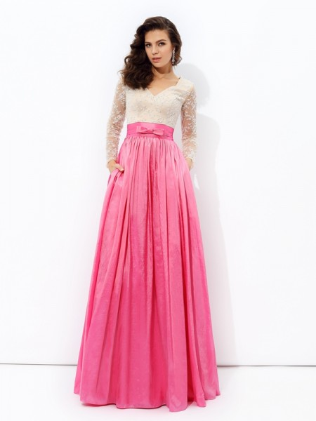 Corte en A/Princesa Escote en V Encaje Manga Larga Largo Tafetán Vestidos
