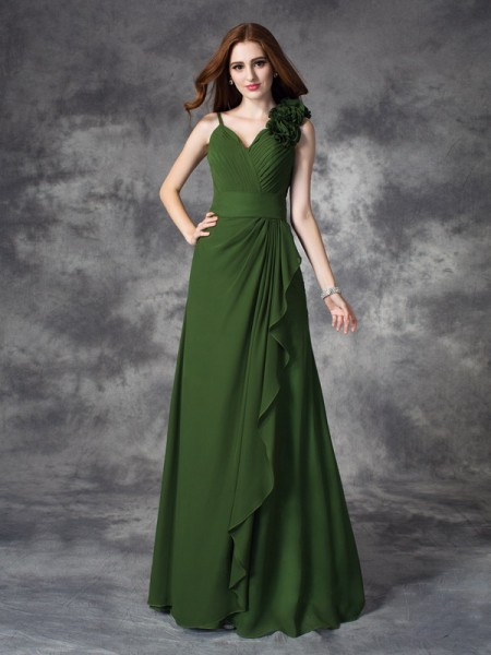 Corte en A/Princesa Escote en V Flores hechas a mano Sin Mangas Largo Gasa Vestidos de dama de honor