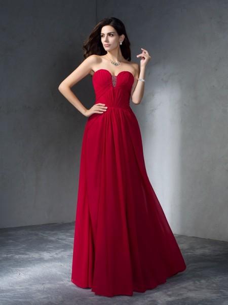 Corte en A/Princesa Escote de Corazón Plisado Sin Mangas Largo Gasa Vestidos
