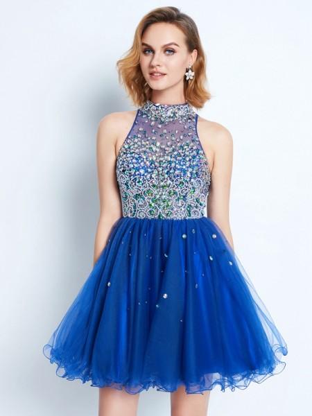 Corte en A/Princesa Escote Alto Volantes Sin Mangas Corto/Mini Malla Dress