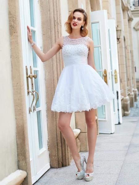 Corte en A/Princesa Escote Joya Sin Mangas Perlas Corto Encaje Vestidos