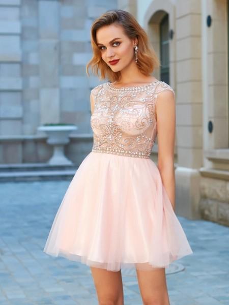 Corte en A/Princesa Escote en U Malla Manga Corta Abalorios Corto/Mini Vestidos