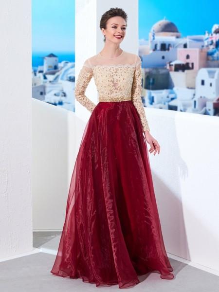Corte en A/Princesa Sheer Neck Hasta el Suelo Manga Larga Apliques Organza Vestidos