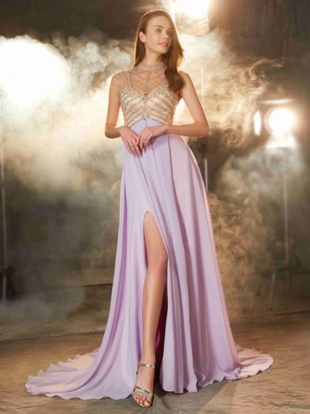 Corte en A/Princesa Escote Alto Sin Mangas Cola de Barrido Cristales Gasa Vestidos