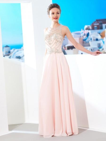 Corte en A/Princesa Escote en U Sin Mangas Gasa Cristales Hasta el Suelo Vestidos