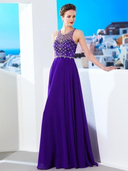983e2c3bea6 Corte en A/Princesa Sin Mangas Gasa Escote en U Cristales Hasta el Suelo  Vestidos