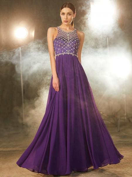Corte en A/Princesa Sin Mangas Gasa Escote en U Cristales Hasta el Suelo Vestidos