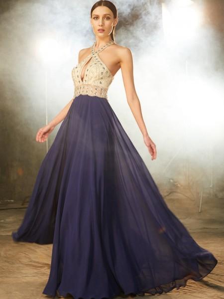 Corte en A/Princesa Sin Mangas Tirantes Abalorios Gasa Hasta el Suelo Vestidos