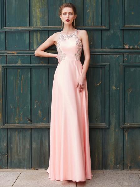 Corte en A/Princesa Escote en U Abalorios Sin Mangas Satén Hasta el Suelo Vestidos
