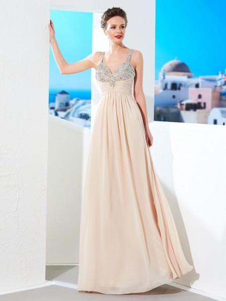 Corte en A/Princesa Tirantes Espagueti Abalorios Hasta el Suelo Gasa Vestidos