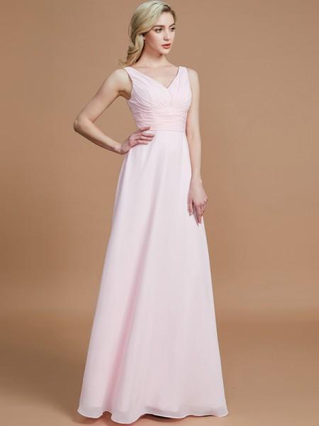 Corte en A/Princesa Sin Mangas Hasta el Suelo Chifón Escote en V Vestidos de dama de honor