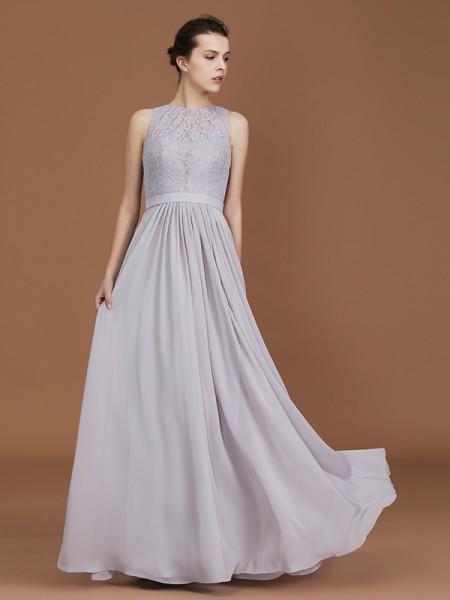 Corte en A/Princesa Escote en U Encaje Hasta el Suelo Fruncido Chifón Vestidos de dama de honor