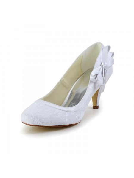 De las mujeres Amazing Satén Punta Cerrada Talón de cono Blanco Zapatos de boda Con Lazos