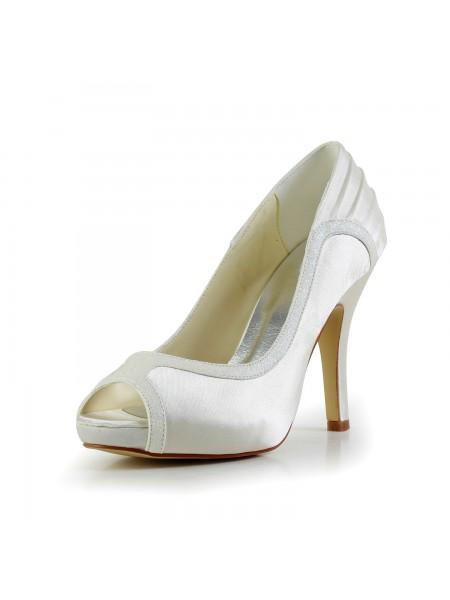 De las mujeres Amazing Satén Tacón de Aguja Ivory Zapatos de boda