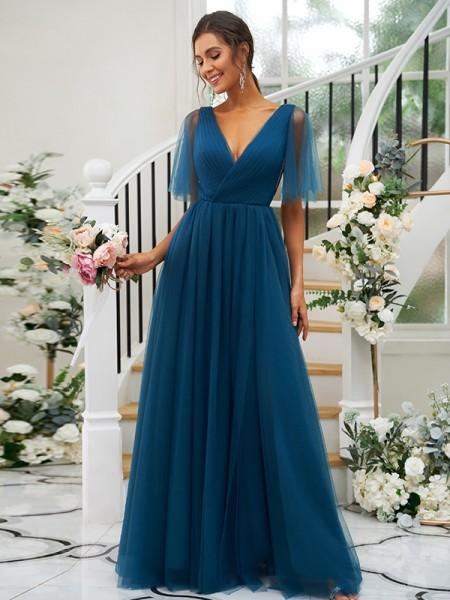 A-Line/Princess Tulle Ruffles V-neck Short Sleeves Floor-Length Bridesmaid Dresses